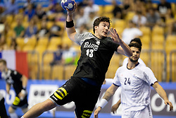 Ioshua Thiele of Germany during handball match between National teams of Germany and France in Semifinal of 2018 EHF U20 Men's European Championship, on July 25, 2018 in Arena Zlatorog, Celje, Slovenia. Photo by Urban Urbanc / Sportida