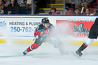 KELOWNA, CANADA - NOVEMBER 10: Dillon Dube #19 of the Kelowna Rockets gets caught in snow spray against the Vancouver Giants on November 10, 2017 at Prospera Place in Kelowna, British Columbia, Canada.  (Photo by Marissa Baecker/Shoot the Breeze)  *** Local Caption ***