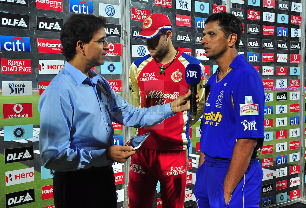 Danial Vettori captian of RCB and Rajasthan royals captian Rahul Dravid with commentator Harsha bhogle during match 30 of the the Indian Premier League ( IPL) 2012  between The Rajasthan Royals and the Royal Challengers Bangalore held at the Sawai Mansingh Stadium in Jaipur on the 23rd April 2012..Photo by Arjun Panwar/IPL/SPORTZPICS