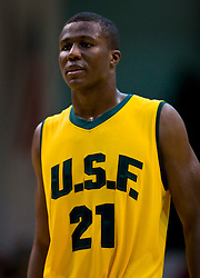 January 30, 2010; San Francisco, CA, USA;  San Francisco Dons center Moustapha Diarra (21) during the second half against the Gonzaga Bulldogs at the War Memorial Gym.  San Francisco defeated Gonzaga 81-77 in overtime.