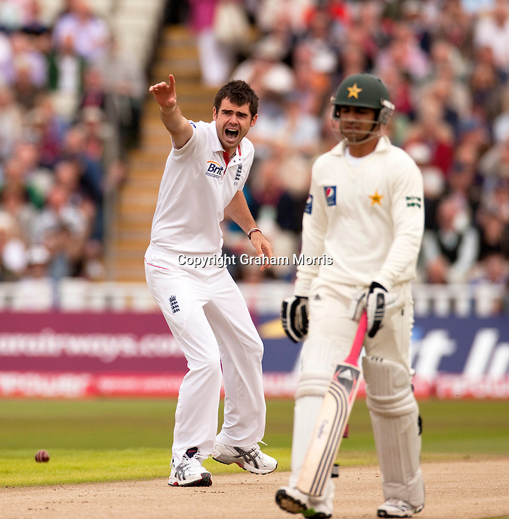 Bowler James Anderson appeals in vain (and wastes a referral) for the lbw of Imran Farhat during the second npower Test Match between England and Pakistan at Edgbaston, Birmingham.  Photo: Graham Morris (Tel: +44(0)20 8969 4192 Email: sales@cricketpix.com) 06/08/10