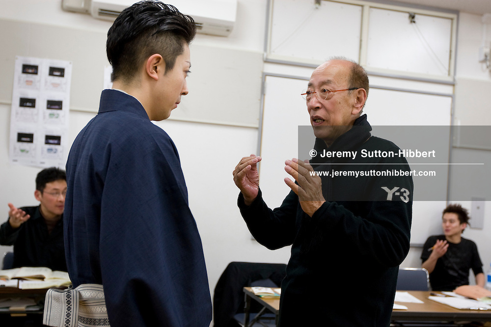 Actor Onoe Kikunosuke V (on left) gets direction from theatre director Yukio Ninagawa, during rehearsals for theatre director Yukio Ninagawa's adaptation of 'Twelfth Night', in Tokyo, Japan, Friday 13th March 2009. Ninagawa'a 'Twelfth Night' will play at the Barbican Centre in London, March 24th-28th 2009, and will star two of the great Kabuki actors Onoe Kikunosuke V and his father, a 'Living National treasure', Onoe Kikugoro VII.