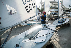 World Sailing Emerging Nations Program - Boca Chica Sailing Club, Santo Domingo 08/19/2017 - DAY 1- Romina de Iulio from Ecuador packs and cleans her boat after practice