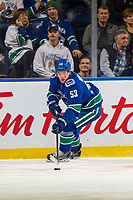 KELOWNA, BC - SEPTEMBER 29:  Bo Horvat #53 of the Vancouver Canucks skates with the puck against the Arizona Coyotes at Prospera Place on September 29, 2018 in Kelowna, Canada. (Photo by Marissa Baecker/NHLI via Getty Images)  *** Local Caption *** Bo Horvat;
