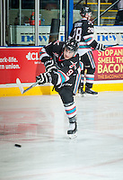 KELOWNA, CANADA - SEPTEMBER 25: Tanner Wishnowski #9 of Kelowna Rockets takes a shot during warm up against the Kamloops Blazers on September 25, 2015 at Prospera Place in Kelowna, British Columbia, Canada.  (Photo by Marissa Baecker/Shoot the Breeze)  *** Local Caption *** Tanner Wishnowski;