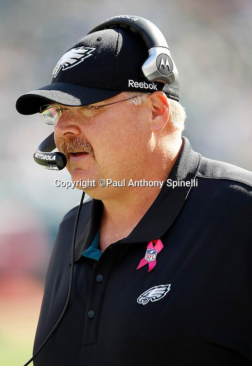 Philadelphia Eagles Head Coach Andy Reid looks on during the NFL week 6 football game against the Atlanta Falcons on Sunday, October 17, 2010 in Philadelphia, Pennsylvania. The Eagles won the game 31-17. (©Paul Anthony Spinelli)