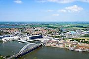 Nederland, Zuid-Holland, Ridderkerk, 10-06-2015; brug over De Noord, gezien naar Papendrecht. Aan het water Nedstaal (voorheen Kabelfabriek).<br /> Bridge crossing river the North.<br /> <br /> luchtfoto (toeslag op standard tarieven);<br /> aerial photo (additional fee required);<br /> copyright foto/photo Siebe Swart