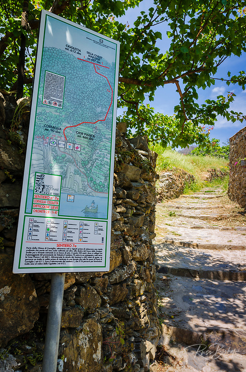 Walking map in Corniglia, Cinque Terre, Liguria, Italy