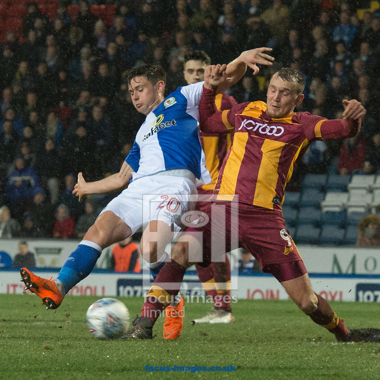Charlie Wyke of Bradford City blocks an effort from Marcus Antonsson of Blackburn Rovers during the Sky Bet League 1 match at Ewood Park, Blackburn<br /> Picture by Matt Wilkinson/Focus Images Ltd 07814 960751<br /> 29/03/2018