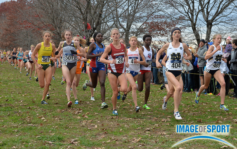 Nov 21, 2015; Louisville, KY, USA; Molly Seidel of Notre Dame (404) wins the womens race in 19:28 during the 2015 NCAA cross country championships at Tom Sawyer Park. From left: Dominique Scott of Arkansas (28), Allie Ostrander of Boise State (49), Seidel and Alice Wright of New Mexico Alice Wright (391) and Anna Rohrer of Notre Dame (403).