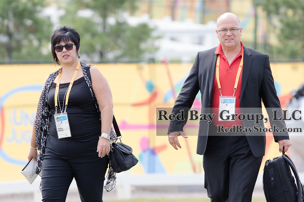 Allan Thompson Mayor, Town of Caledon and his wife Anne arrive at the OLG Caledon Pan Am Equestrian Park during the Toronto 2015 Pan American Games in Caledon, Ontario, Canada.