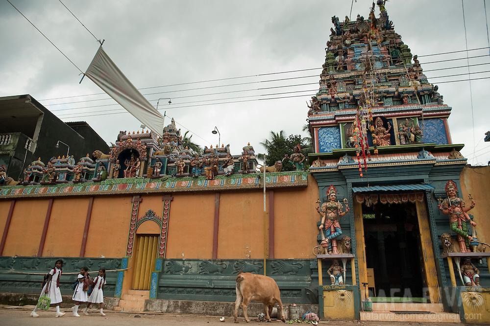 Some schoolgirls walk past a Kovil (temple) in Rakwana, Sri Lanka, on February 28, 2011.