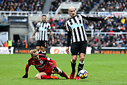 Jonjo Shelvey (#8) of Newcastle United bursts into the penalty area during the Premier League match between Newcastle United and Huddersfield Town at St. James's Park, Newcastle, England on 31 March 2018. Picture by Craig Doyle.