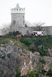 © Licensed to London News Pictures. 04/12/2014. Bristol, UK. Police with specialist climbing teams search the Avon Gorge after a body was found last night in the search for new mother Charlotte Bevan age 30 and her 4 day old baby daughter Zaani Tiana Bevan Malbrouck who went missing on Tuesday night from St Michael's Hospital in Bristol. Photo credit : Simon Chapman/LNP
