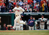 Jason Michaels scores a run.The Cleveland Indians defeated the Chicago White Sox Monday, March 31 at Progressive Field in Cleveland. The Indians defeated the White Sox 10-8.