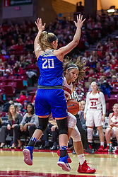 NORMAL, IL - December 20: Katrina Beck works into the lane against defender Jordyn Frantz during a college women's basketball game between the ISU Redbirds and the St. Louis Billikens on December 20 2018 at Redbird Arena in Normal, IL. (Photo by Alan Look)