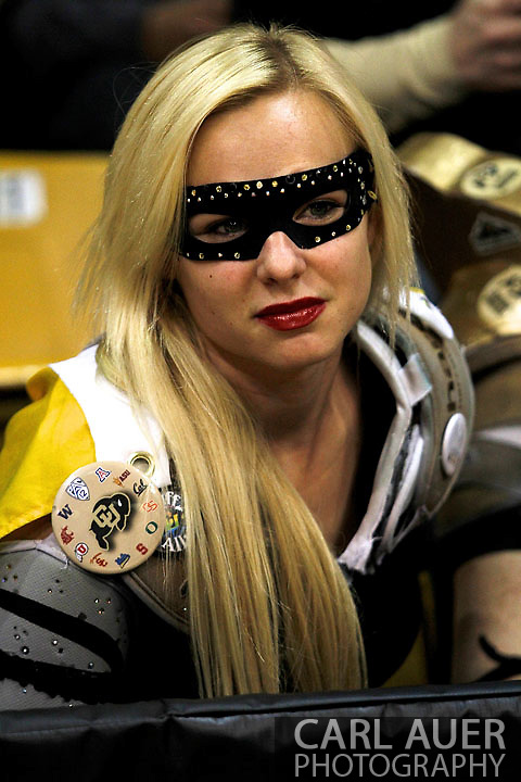 November 27, 2012: A super CU fan gets ready for action to start in the NCAA Basketball game between the Texas Southern Tigers and the Colorado Buffaloes at the Coors Event Center in Boulder Colorado