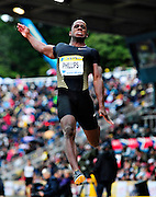 USA's Dwight Phillips competes in the men's long jump, during the Diamond League athletics meeting at Crystal Palace in London on August 14, 2010.