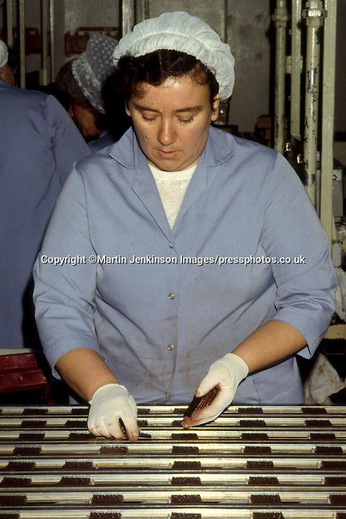 Woman on the After Eight production line at Rowntree Mackintosh, Castleford.