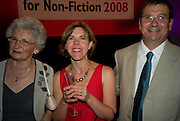ANNE COCKER; MARY COCKER; MARK COCKER; CHRIS ASHTON, BBC Four Samuel Johnson Prize party. Souyh Bank Centre. London. 15 July 2008.  *** Local Caption *** -DO NOT ARCHIVE-© Copyright Photograph by Dafydd Jones. 248 Clapham Rd. London SW9 0PZ. Tel 0207 820 0771. www.dafjones.com.