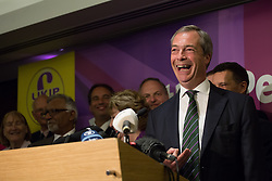 Ngel Farage deliver speech after significant gains. The leader of UKIP party Nigel Farage gives a party speech in central London after his significants gains in the European and Council elections. InterContinental Hotel, London, United Kingdom. Monday, 26th May 2014. Picture by Daniel Leal-Olivas / i-Images