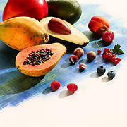 Selection of fruit on painted background.Ray Massey is an established, award winning, UK professional photographer, shooting creative advertising and editorial images from his stunning studio in a converted church in Camden Town, London NW1. Ray Massey specialises in drinks and liquids, still life and hands, product, gymnastics, special effects (sfx) and location photography. He is particularly known for dynamic high speed action shots of pours, bubbles, splashes and explosions in beers, champagnes, sodas, cocktails and beverages of all descriptions, as well as perfumes, paint, ink, water – even ice! Ray Massey works throughout the world with advertising agencies, designers, design groups, PR companies and directly with clients. He regularly manages the entire creative process, including post-production composition, manipulation and retouching, working with his team of retouchers to produce final images ready for publication.