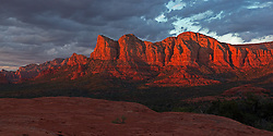 The Rock of Gibraltar Sedona, AZ moments before sunset.