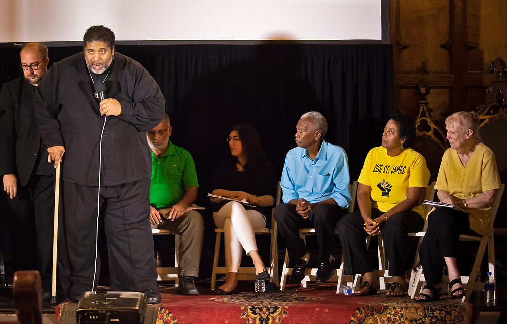 Sharon Lavigne, founder of Rise St. James,  at a forum with Rev. William Barber in New Orleans on July 26, 2019.