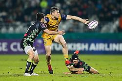 Jason Woodward of Bristol Rugby is tackled by Charly Malie of Pau - Rogan Thomson/JMP - 16/12/2016 - RUGBY UNION - Stade du Hameau - Pau, France - Pau v Bristol Rugby - EPCR Challenge Cup.