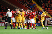 Tempers fray during the Sky Bet Championship match between Charlton Athletic and Preston North End at The Valley, London, England on 20 October 2015. Photo by David Charbit.