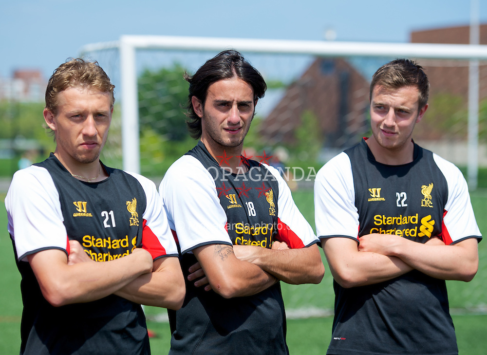 BOSTON, MA - Monday, July 23, 2012: Liverpool's Lucas Leiva, Alberto Aquilani and Danny Wilson during a LFC Foundation event at Harvard Stadium fields during the club's North American pre-season tour. (Pic by David Rawcliffe/Propaganda)