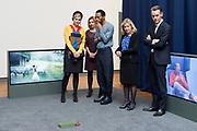 Koningin Maxima is aanwezig bij de uitreiking van de Prix de Rome 2015, de oudste prijs in Nederland voor beeldend kunstenaars onder de 40 jaar. <br /> <br /> Queen Maxima attends the presentation of the Prix de Rome in 2015, the oldest prize in the Netherlands for artists under 40 years.<br /> <br /> Op de foto / On the photo:  Koningin Maxima met een van de genomineerden Christian Nyampeta // Queen Maxima with one of the nominees Christian Nyampeta