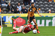 Bristol City midfielder Marlon Pack (21) and Hull City midfielder Kevin Stewart (6) during the EFL Sky Bet Championship match between Hull City and Bristol City at the KCOM Stadium, Kingston upon Hull, England on 5 May 2019.