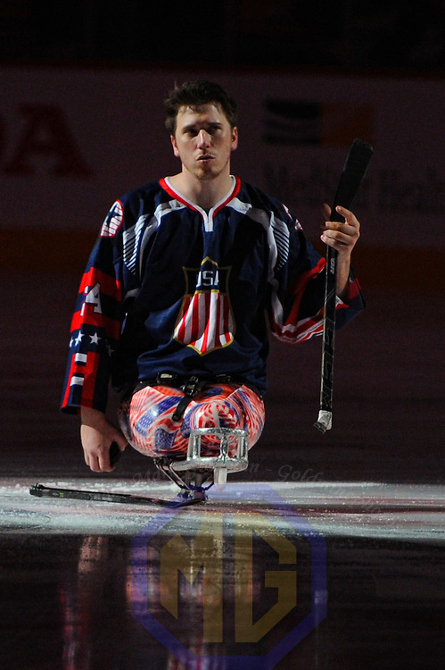 04 February 2016:  Injured Marine Corps Lance Corporal Josh Misiewicz takes the ice for Military Appreciation Night at the Verizon Center in Washington, D.C. where the Washington Capitals defeated the New York Islanders, 3-2.  (Photograph by Mark Goldman/Icon Sportswire)