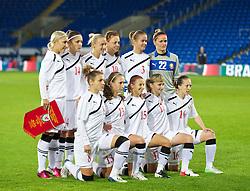 CARDIFF, WALES - Thursday, September 26, 2013: Belarus players line up for a team group photograph before the FIFA Women's World Cup Canada 2015 Qualifying Group 6 match against Wales at the Cardiff City Stadium. Back row L-R: captain Aksana Shpak, Elvira Urazayeva, Alina Vasilyeva, Hanna Pilipenka, Anastasya Linnik, goalkeeper Ina Batsianouskaya. Front row L-R: Sviatlana Astashova, Anastasiya Kharlanava, Maryia Busunova, Katsiaryna Avkhimovich, Yulya Barysenka. (Pic by David Rawcliffe/Propaganda)