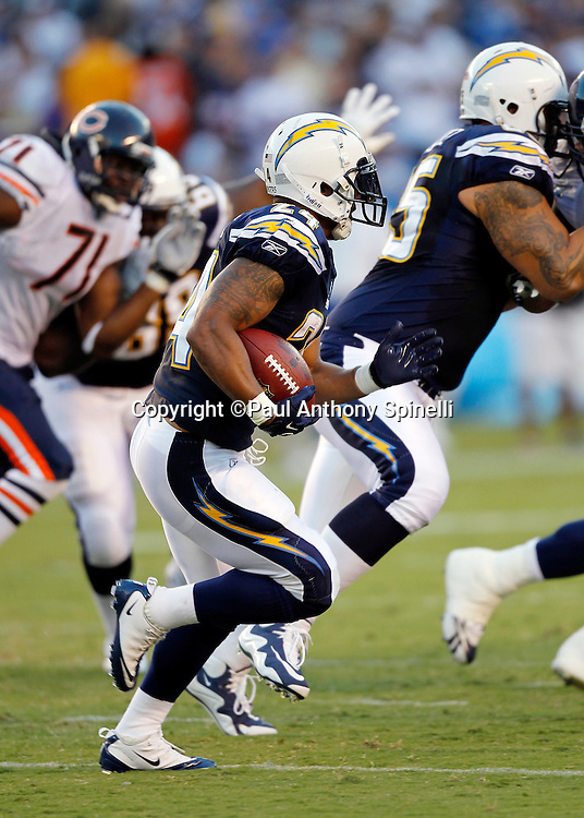 San Diego Chargers rookie running back Ryan Matthews (24) runs the ball during a NFL week 1 preseason football game against the Chicago Bears, Saturday, August 14, 2010 in San Diego, California. The Chargers won the game 25-10. (©Paul Anthony Spinelli)