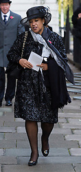 © Licensed to London News Pictures. 15/11/2016. LONDON, UK.  Baronness Scotland arrives in Downing Street ahead of the annual Remembrance Sunday service at the Cenotaph on 13th November 2016. The taxpayer-funded makeover of Baroness Scotland's Mayfair mansion has reportedly included £24,000 for a bathroom, £8,000 to repair curtains and £307 for a lavatory seat according to an official letter. Baroness Scotland claims the refurbishment of the mansion was not a misuse of public money. Photo credit: Vickie Flores/LNP