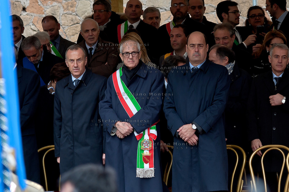 Commemoration for the 72th anniversary of the massacre  Fosse Ardeatine, made in Rome by the occupation troops of Nazi Germany, the  March 24, 1944, were killed, 335 civilians and Italian soldiers. Pictured: The special commissioner for Roma Capitale, Francesco Paolo Tronca (C) and the President of the Lazio Region, Nicola Zingaretti (R). Rome Italy. March 23, 2016.