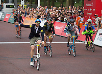 LONDON UK 30TH JULY 2016:  Brompton Cyclists Mark Emsley. The Brompton World Championship. Prudential RideLondon in London 30th July 2016<br /> <br /> Photo: Jon Buckle/Silverhub for Prudential RideLondon<br /> <br /> Prudential RideLondon is the world's greatest festival of cycling, involving 95,000+ cyclists – from Olympic champions to a free family fun ride - riding in events over closed roads in London and Surrey over the weekend of 29th to 31st July 2016. <br /> <br /> See www.PrudentialRideLondon.co.uk for more.<br /> <br /> For further information: media@londonmarathonevents.co.uk