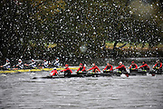 Cambridge, USA, Championships Men's Eights, M8+,   Cornell University  and Yale University Crew, race alongside, approaching the Cambridge BC. during the  2009 Head of the Charles  Sunday  18/10/2009  [Mandatory Credit Peter Spurrier Intersport Images],.