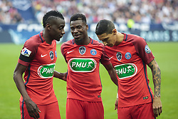 May 27, 2017 - Saint-Denis, Paris, France - Paris Saint-Germain's French midfielder Blaise Matuidi (L), Paris Saint-Germain's Ivorian defender Serge Aurier (C) and Paris Saint-Germain's Argentinian forward Angel Di Maria (R) prior to the French Cup final football match between Paris Saint-Germain (PSG) and Angers (SCO) on May 27, 2017, at the Stade de France in Saint-Denis, north of Paris. (Credit Image: © Geoffroy Van Der Hasselt/NurPhoto via ZUMA Press)