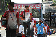 Mohun Bagan A.C. players arrive during the 2nd semi final match of the Hero Super Cup between Mohun Bagan and Bengaluru FC held at the Kalinga Stadium, Bhubaneswar, India on the 17th April 2018<br /> <br /> Photo by: Deepak Malik / SPORTZPICS