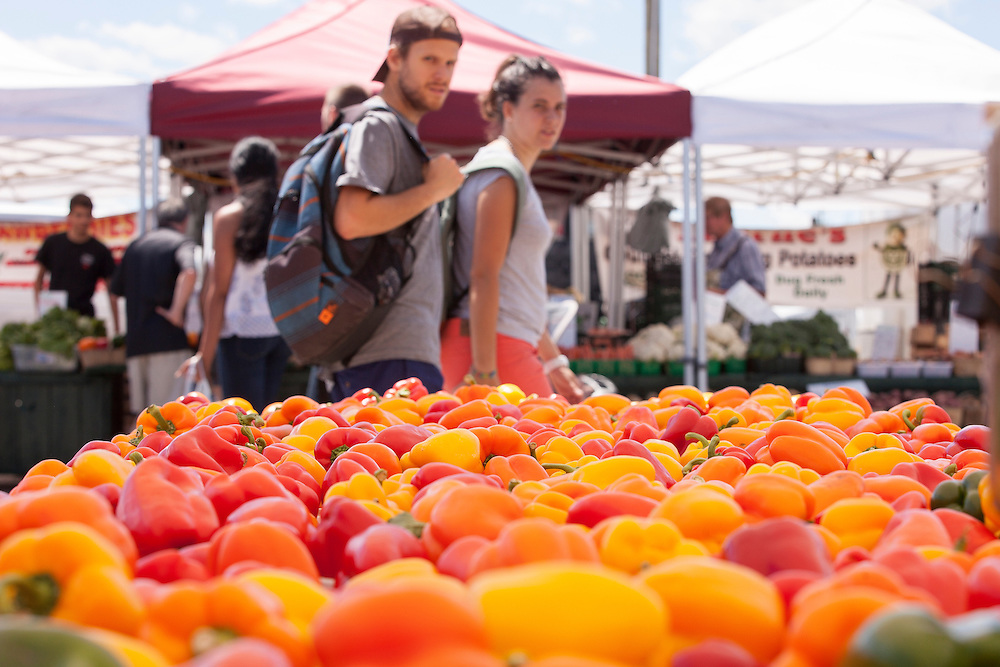 Passers by check out the peppers at the Nemeth Farms stand at the St. Jacob's market in Kitchener Ontario, Saturday,  July 23, 2016.<br /> Farmers Forum/ Geoff Robins