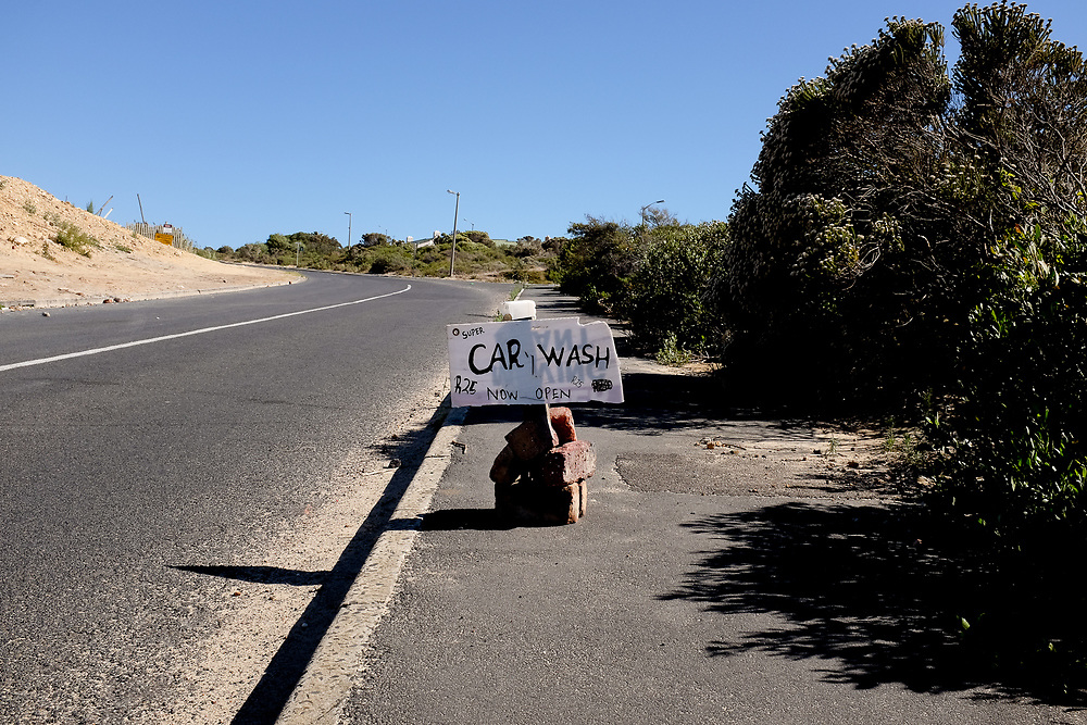 A sign advertising a car wash at the Dido Valley Spring, near Simonstown in Cape Town. Business has reportedly fallen off since the City cancelled Day zero.