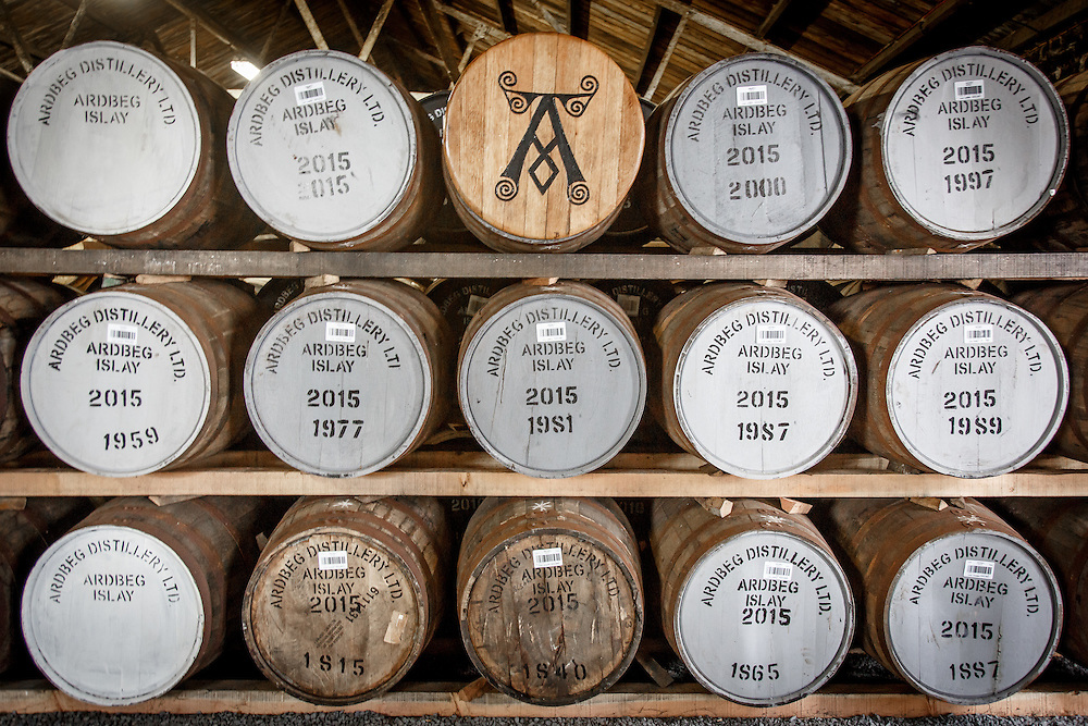 Barrels in a bond warehouse at Ardbeg Distillery in Port Ellen, Isle of Islay, Scotland, July 15, 2015. Gary He/DRAMBOX MEDIA LIBRARY