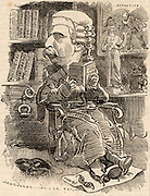 (Charles Edward) Howard Vincent (1849-1908) English Conservative politician, lawyer and criminologist. The first director of criminal investigation at Scotland Yard, the headquarters of the London police force.  Cartoon by Edward Linley Sambourne in the Punch's Fancy Portraits series from 'Punch' (London,16 July 1881).