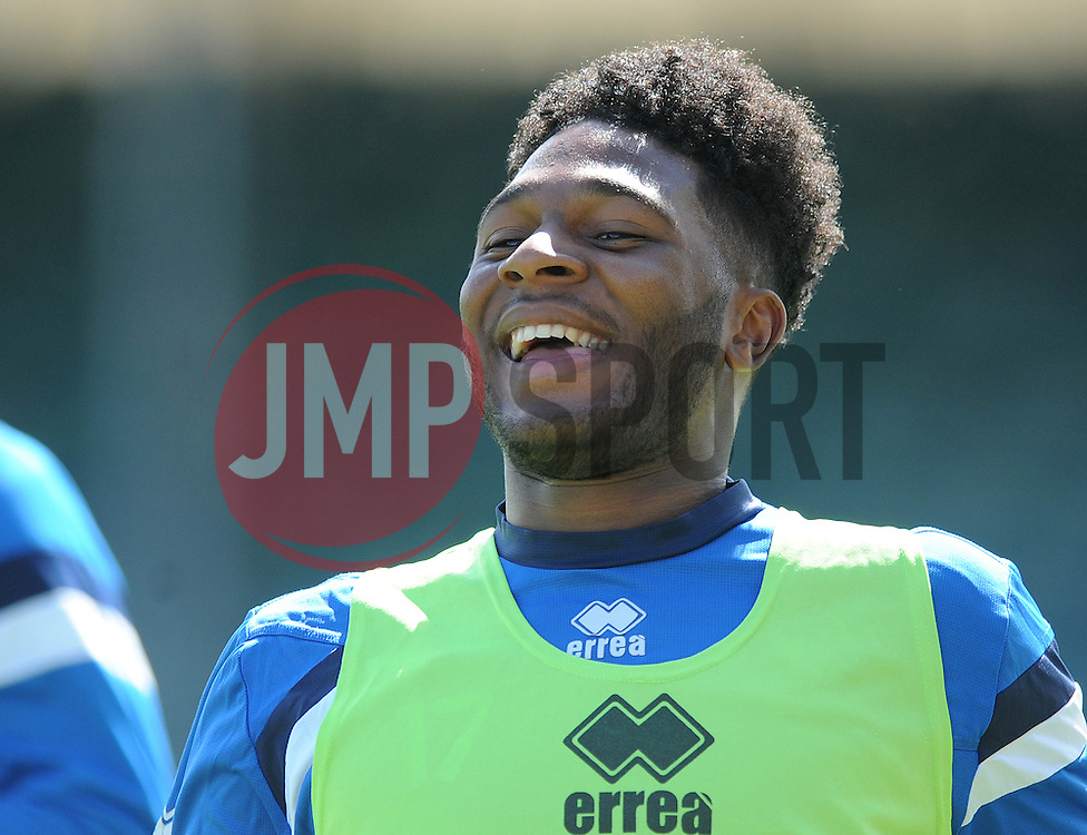 Bristol Rovers' Ellis Harrison smiles ahead of the Vanarama Conference final against Grimsby Town - Photo mandatory by-line: Dougie Allward/JMP - Mobile: 07966 386802 - 12/05/2015 - SPORT - Football - Bristol - Memorial Stadium - Bristol Rovers v Grimbsy Town - Vanarama Football Conference