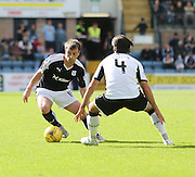 Dundee's Paul McGowan runs at St Johnstone&rsquo;s Simon Lappin - Dundee v St Johnstone at Dens Park <br /> - Ladbrokes Premiership<br /> <br />  - &copy; David Young - www.davidyoungphoto.co.uk - email: davidyoungphoto@gmail.com
