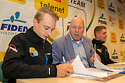BELGIUM / BELGIQUE / BELGIE / LICHTAART / CYCLING / CYCLISME / WIELRENNEN / CYCLOCROSS / VELDRIJDEN / CYCLO-CROSS / TELENET - FIDEA CYCLING TEAM / TELENET FIDEA CYCLING TEAM / PRESS CONFERENCE / PERSCONFERENTIE / (L-R) QUINTEN HERMANS / HANS VAN KASTEREN / DAAN SOETE /