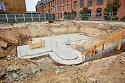 Bygning af Seniorboliger, Diakonissestiftelsen, Frederiksberg, støbning af bundplade